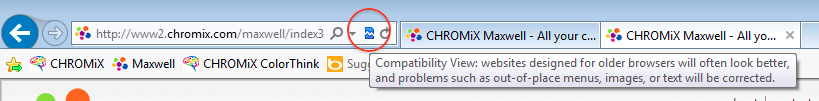 Example of compatibility mode in Windows Explorer 10