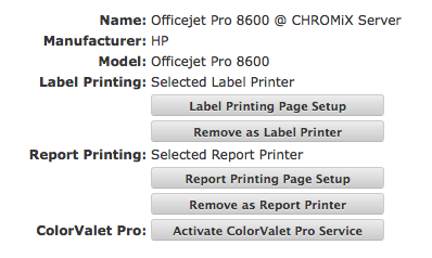 "Click button to ""Select as Report Printer""."