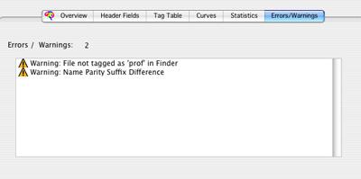 Profile Inspector Warnings/Errors tab.