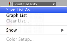 "Choose ""Save List As..."""