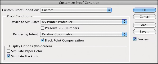 Example of a soft-proofing dialog box in Photoshop.