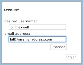 Enter username and email address