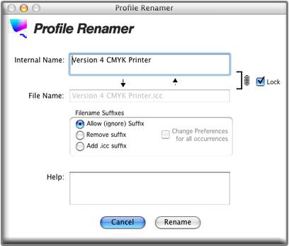 The Profile Renamer window