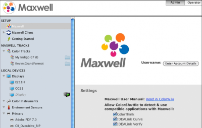 Maxwell Client log-in area