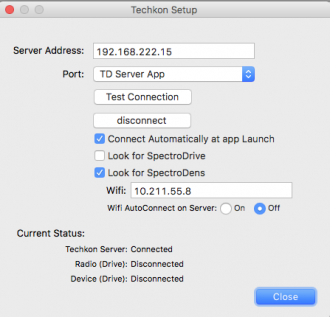 Techkon setup example in the Maxwell Client