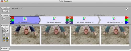Soft-proofing workflow in the ColorThink Pro Worksheet.
